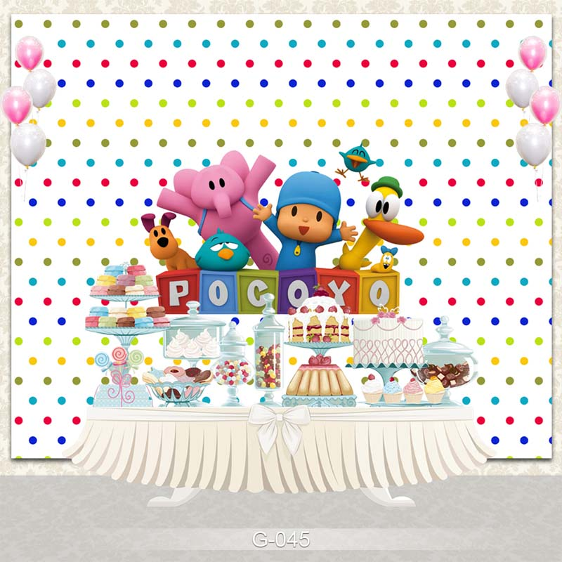 Vinyl Photography Backdrop Cartoon Characters Pocoyo Birthday Party Baby Shower Children Photo Backdgrounds for Studio G-045
