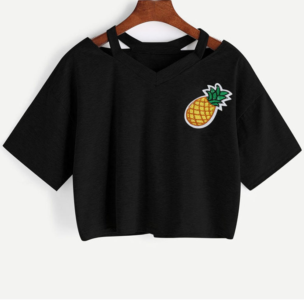 Verano camiseta mujer Casual piña impresa manga corta Crop Top super calidad Camiseta de algodón para mujer