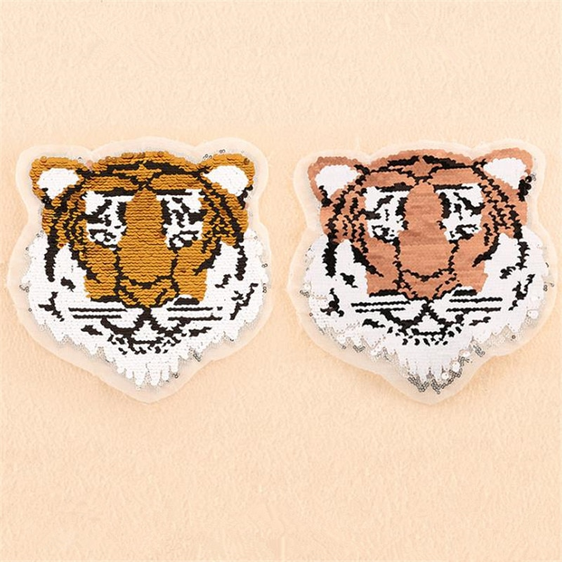 Ropa mujer parche revertible y en distintos colores Tigre cabeza arriba y abajo flip lentejuelas parches de animales para ropa stranger things