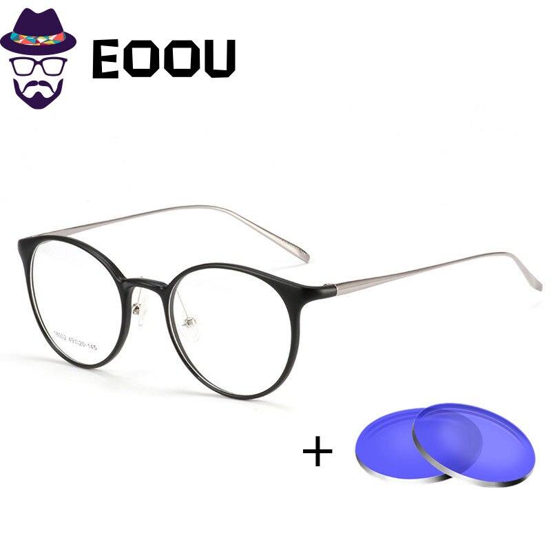 EOOUOOE TR90 montura de Gafas redondas para hombre y Mujer, Gafas para Mujer, Gafas ópticas, Gafas de sol de clase, Gafas con índice de prescripción