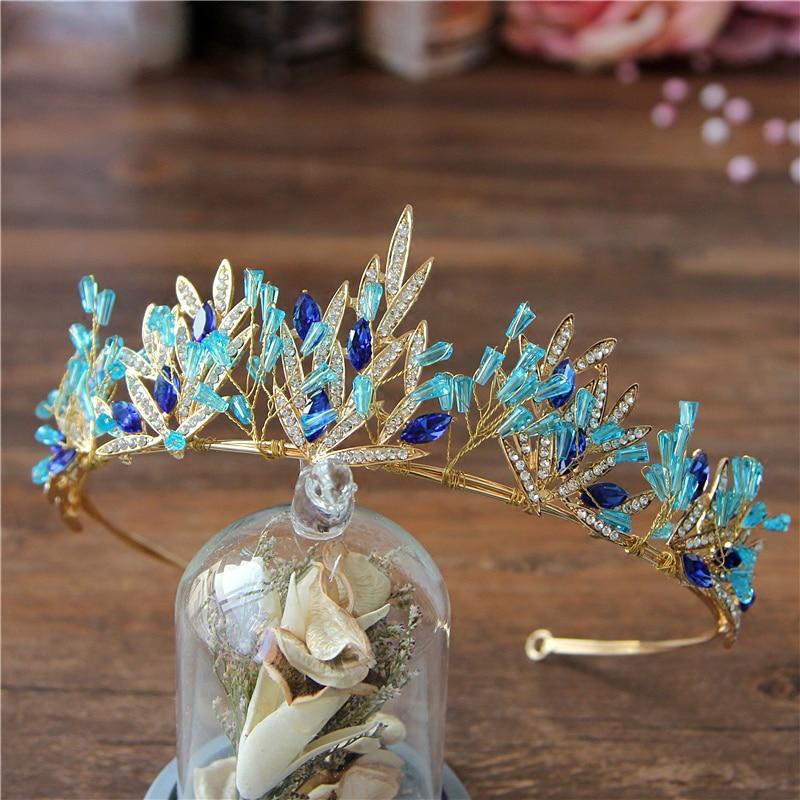 Corona Bohemia de hojas de oro de Accesorios nupciales para el cabello, Tiara de cristal azul, corona para novia diadema étnica, regalos para niña