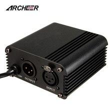 ARCHEER 48 فولت الولايات المتحدة فانتوم امدادات الطاقة مع محول إلغاء الضوضاء لمعدات تسجيل الموسيقى ميكروفون مكثف