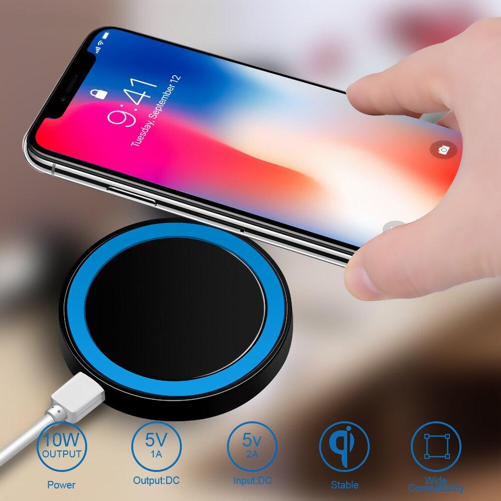 JUSFYU Mini Qi cargador inalámbrico cargador de carga USB de carga para iPhone X 8 8 Plus Samsung Galaxy S6 S7 borde S8 Plus Nota 5 8 cargador