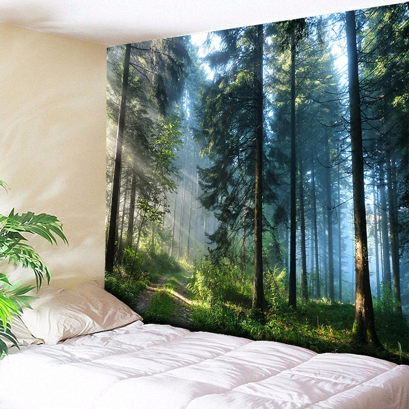 Tapiz de pared grande con estampado con bosque Natural hermoso, tapiz de pared Hippie barato, tapiz de pared bohemio, tapiz de Mandala Arte de la pared Decoración