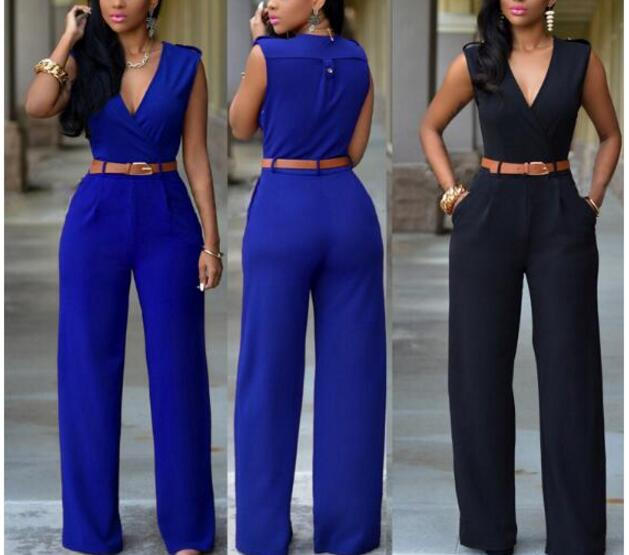 2021 Summer Female Sexy plus size Jumpsuit  Sleeveless V-neck Long Pants Elegant Rompers womens Playsuit overalls for women