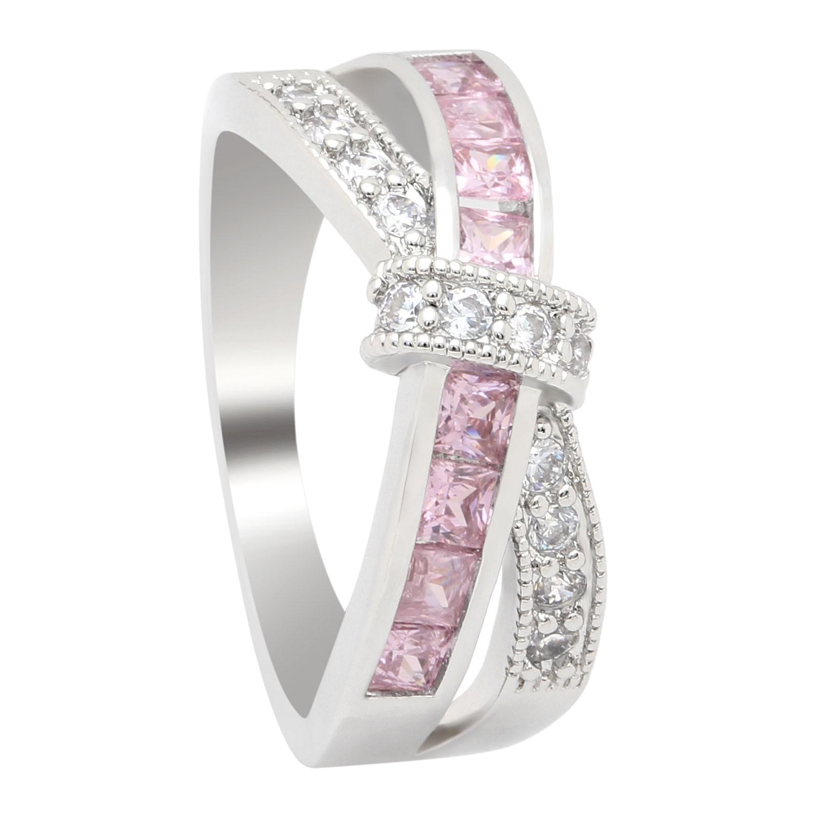 Женское кольцо с крестом Hainon, розовое, Белое и черное Золотое кольцо с фианитом