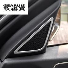 Calcomanías de decoración de altavoces estéreo para puerta con estilo de coche, tiras de ajuste de Tweeter para coche, cubiertas de pegatinas de acero inoxidable para Audi Q3 2013-2017
