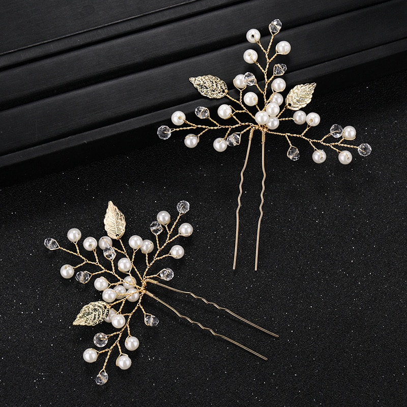 1 par hecho a mano hoja de oro horquilla para boda perla nupcial pelo Pin y Clip de dama de honor novia accesorios de la joyería