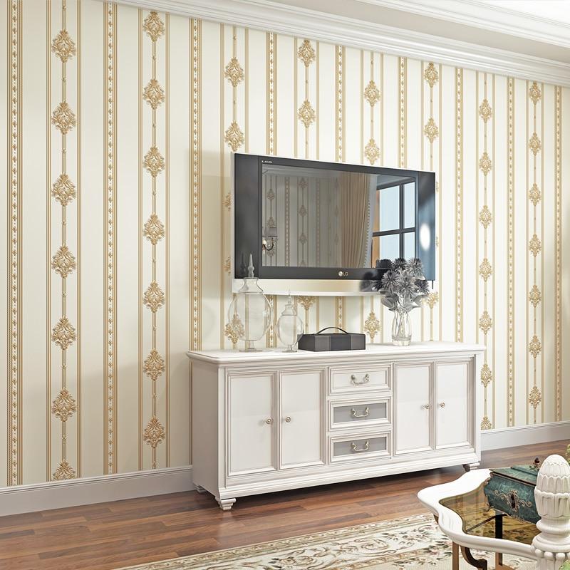 Европейский стиль Роскошные 3D вертикальные полосы обои Гостиная ТВ диван спальня нетканые обои для стен 3 D современные Tapety