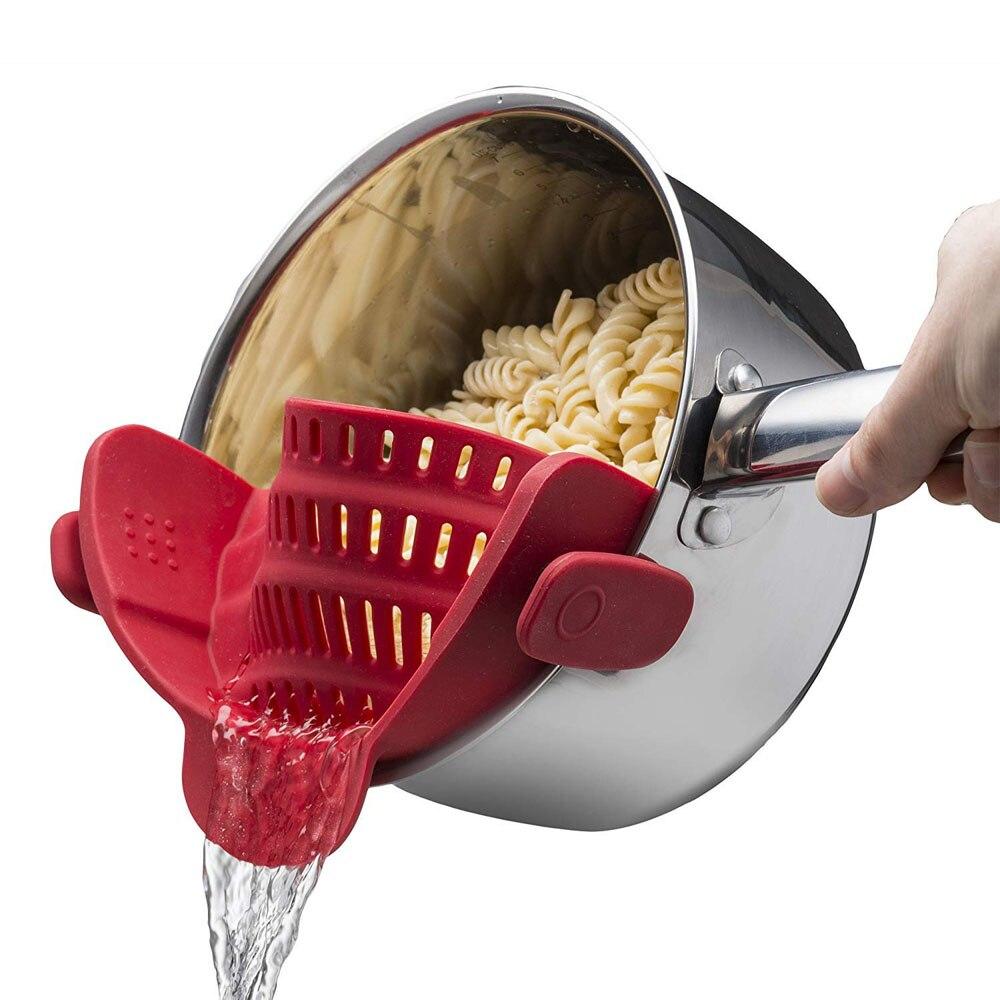 Colador de silicona LMETJMA, colador resistente al calor para Pasta, frutas y verduras KC0274
