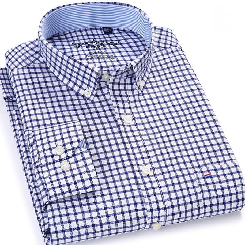 Camisa básica con botones Oxford a cuadros para hombre, camisa básica de un solo Bolsillo tipo parche, informal con contraste grueso, camisas de manga larga