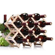 Support pliable en bois pour bouteille de vin   Simple vie casier à vin de haute qualité 3/6/10 porte-bouteille bar de cuisine, étagère pour whisky