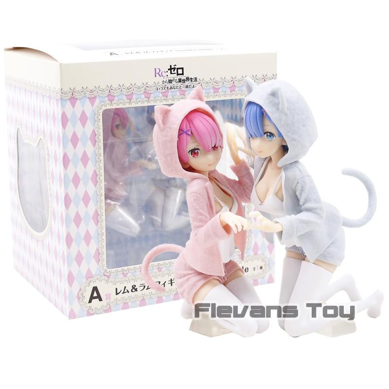 Anime Re:Zero Rem & Ram Nyanko Mode Ichiban kuji PVC Figure Collectible Model Toy