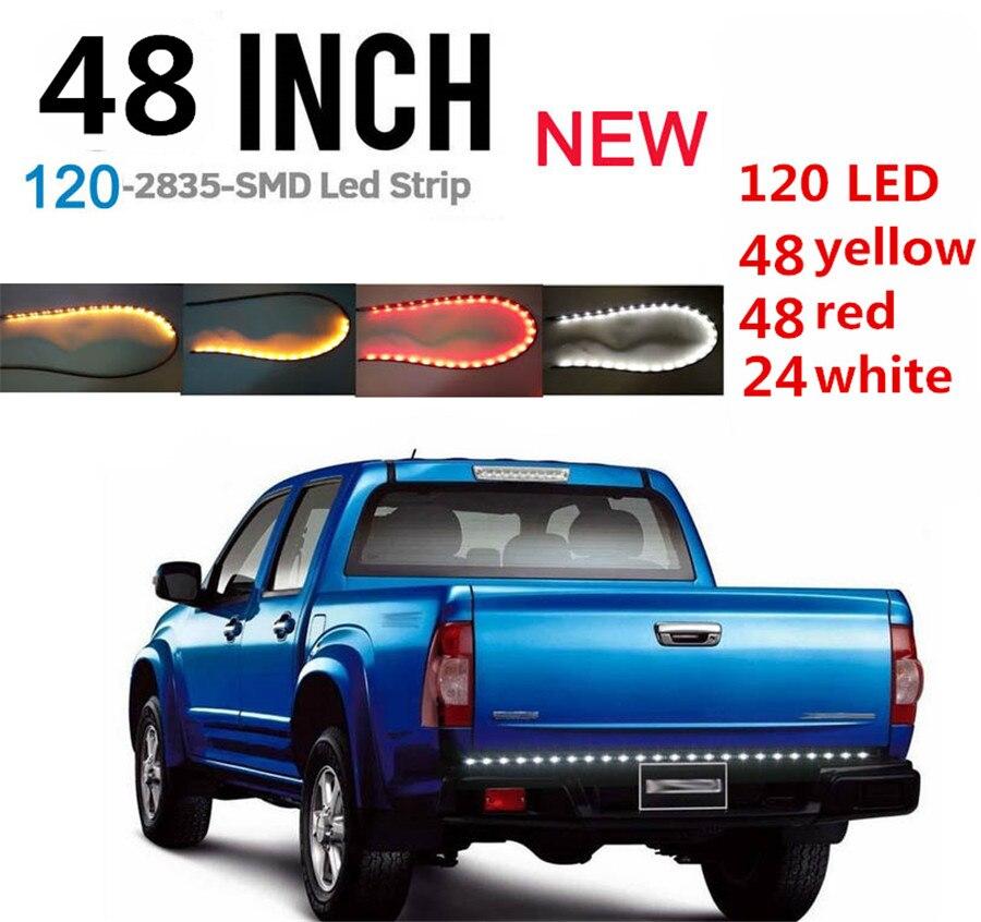 """3 cores 120 led strip 48 """"barra traseira drl parada de freio reverso turn signal luz caminhão lâmpada"""