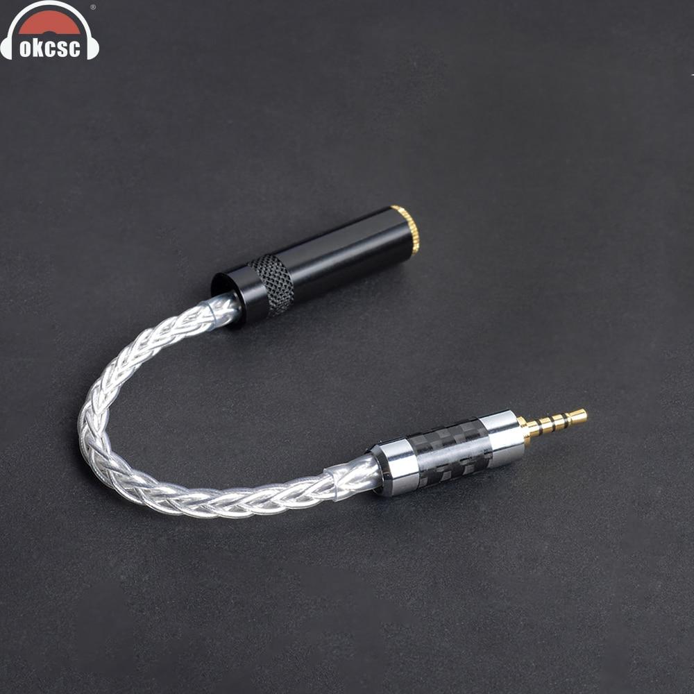 OKCSC 2,5 мм Балансирующий мужской интерфейс 4-полюсная вилка поворачивается к 3,5 мм гнездовому разъему Adpter кабель 8-ядерный посеребренный аудио провод