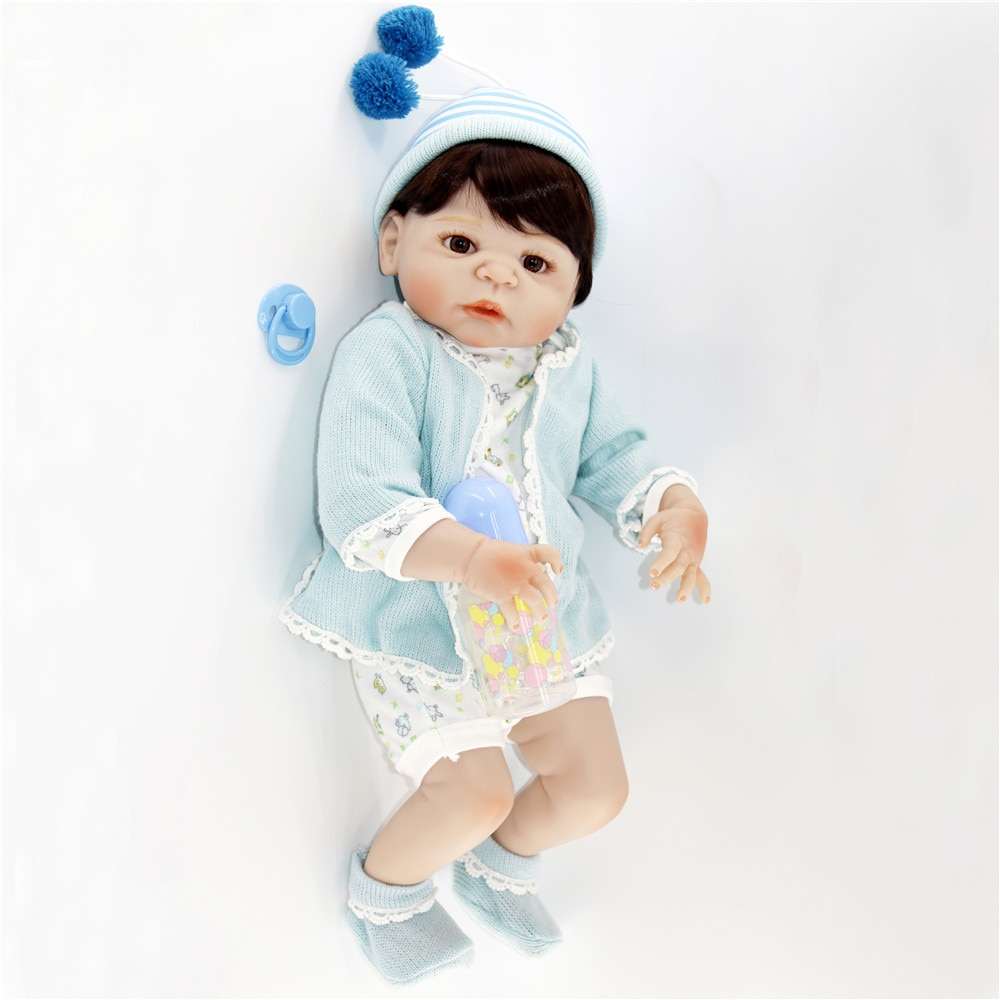 55cm Realistic bebe alive full Silicone Reborn Baby Doll Toy For Girl Boys Newborn Dolls brown eyes For Children best gift BJD