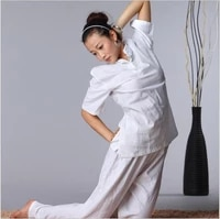 high quality cotton linen yoga suits spring summer short sleeve martial jacket pants loose tai chi kungfu comfortable clothes