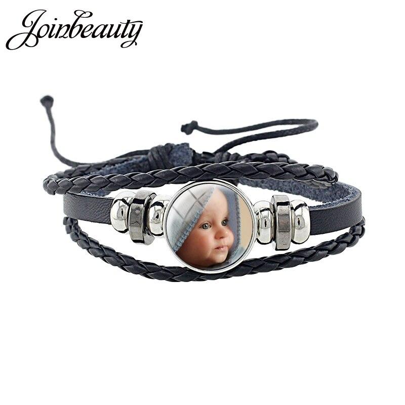 JOINBEAUTY фото Многослойный кожаный браслет на заказ ручной работы круглый стеклянный кабошон для девушек & браслеты для мальчиков NA01