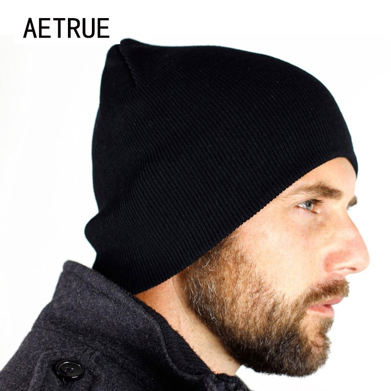 Nuevo sombrero hombres sombrero de invierno sombreros para hombres y mujeres de tapas sombrero cráneo marca capó Casual sombrero gorra de invierno negro Beanie 2018