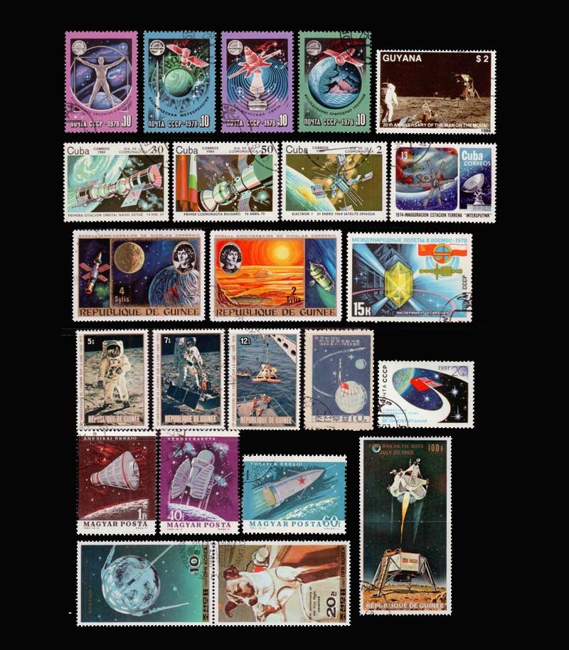 Espacio 100 unids/lote No repetir No utilizados franqueo sellos con marca de correos de todo el mundo para recoger