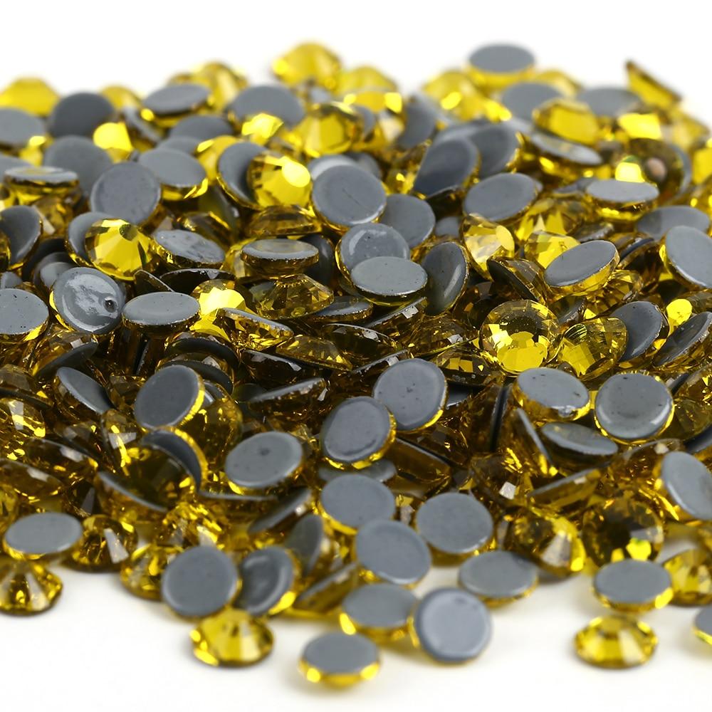 ss6,ss10,ss16,ss20,ss30 Citrine Color DMC Iron On Rhinestones/Hot fix Crystal Rhinestones Strass Sewing & Fabric Garment stones
