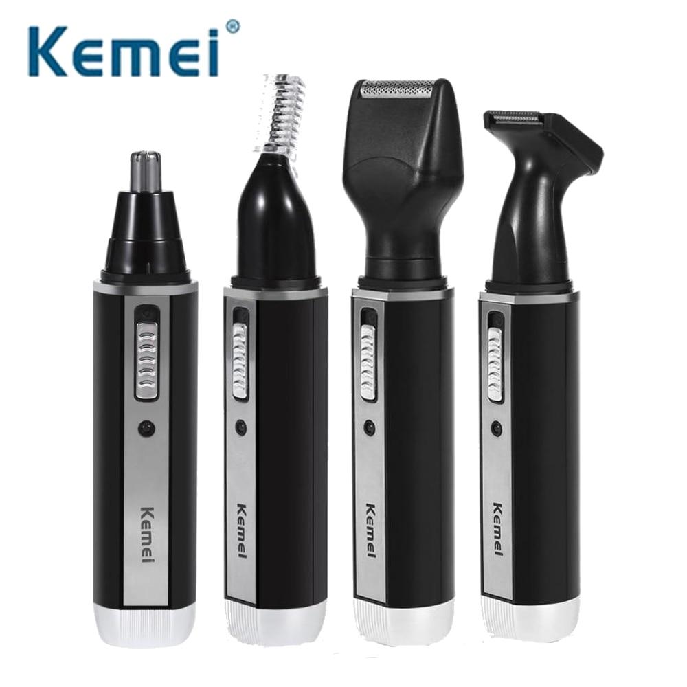 Kemei KM-6630 4 en 1 pelo de la nariz barba cejas recargable recortador eléctrico recortador de la nariz afeitadora para orejas