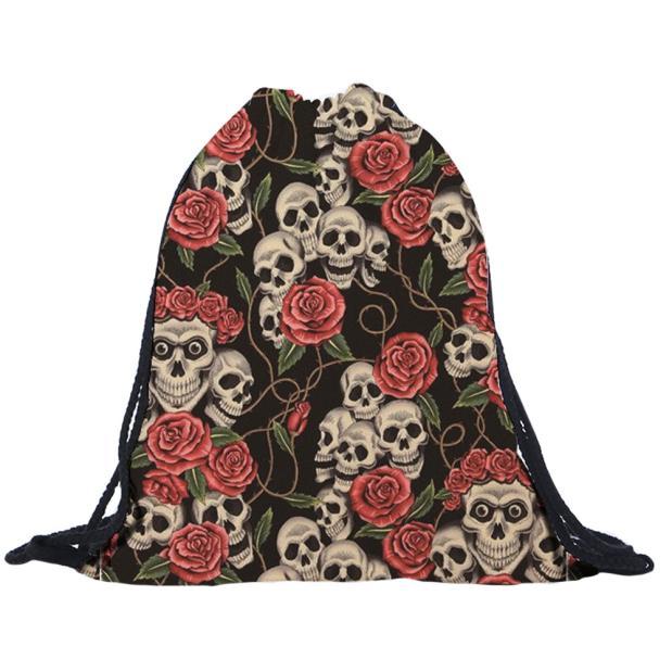 2018 сумки на шнурке для женщин и мужчин унисекс с 3D-принтом черепа сумки супер качество Mochila Feminina sac a dos