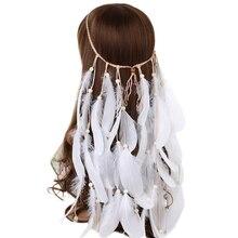 Haimeikang 2020 pena bandana feminino festival pena bandana nupcial casamento faixa de cabelo acessórios para o cabelo do dia das bruxas