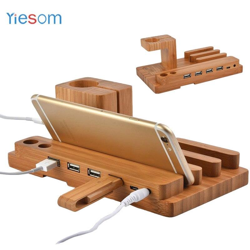 YIESOM Bambus Holz 4 in 1 für Apple Uhr USB 4 Port Micro HUB Ladestation Station Dock Plattform Cradle Halter für iPhone 8
