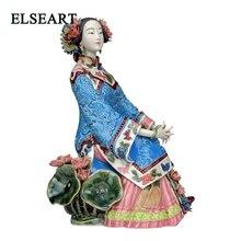 Figurine en céramique dart populaire   Céramique de porcelaine chinoise traditionnelle de dame, Collection artisanat de main vif et élégant pour cadeau