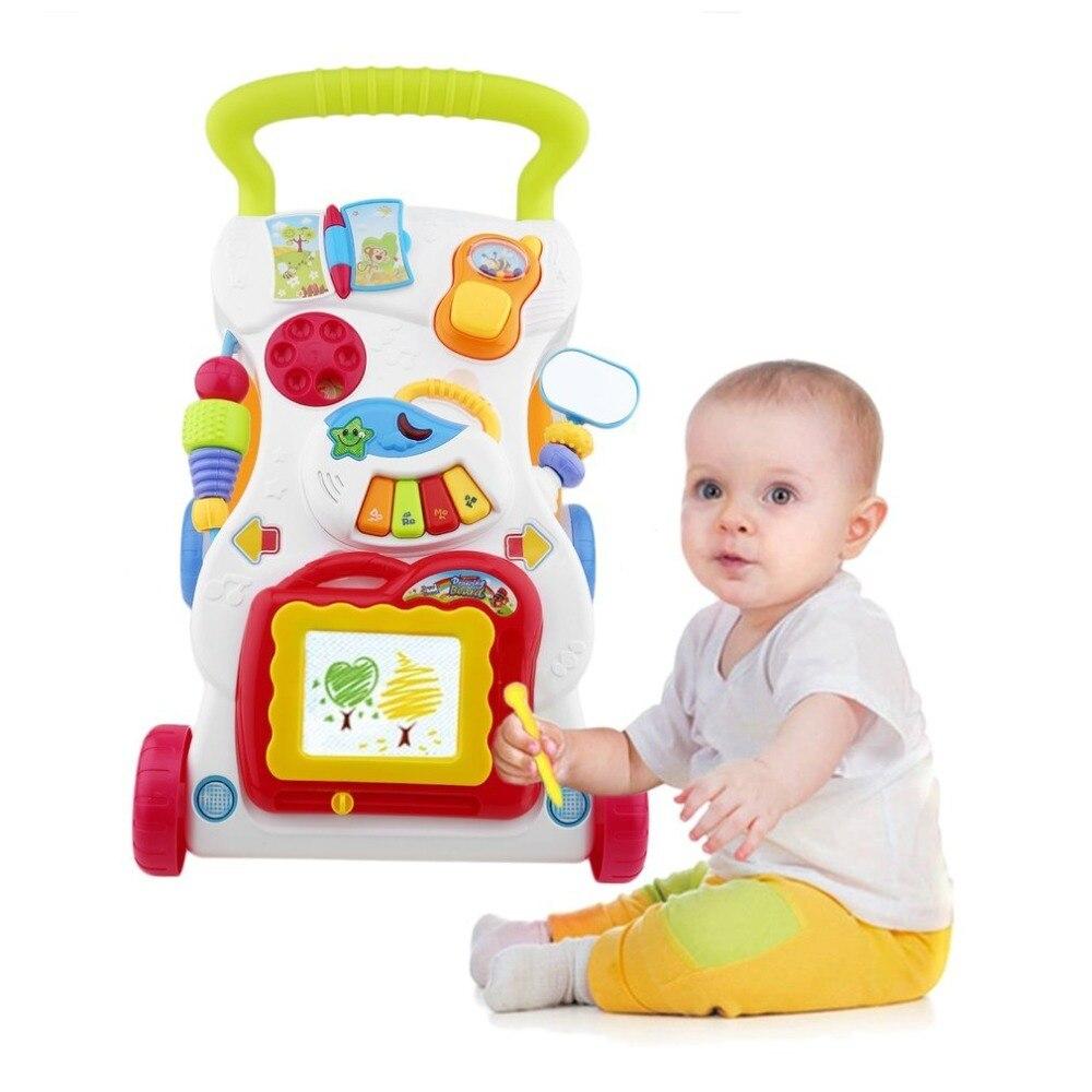 Alta qualidade bebê walker multifuncional carrinho de criança sentar-se-à-estar walker para a aprendizagem precoce do miúdo com parafuso ajustável