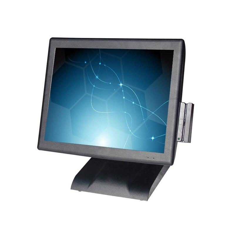 Envío Gratis 15 pantalla táctil terminal comercial pos restaurante caja registradora todo en uno lector de tarjetas pc VFD pantalla del cliente