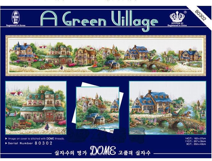 Pacote bordado cross stitch kits cidade europeia uma vila verde grande tamanho 163 cm x 27 cm diy bordado kit