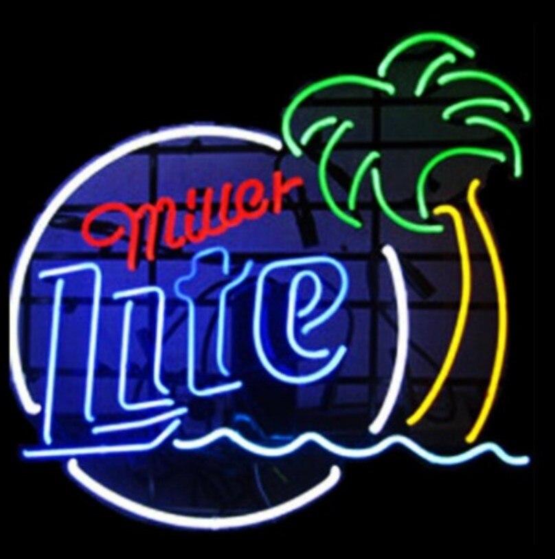 العرف ميلر لايت شجرة النخيل الزجاج ضوء النيون تسجيل البيرة بار