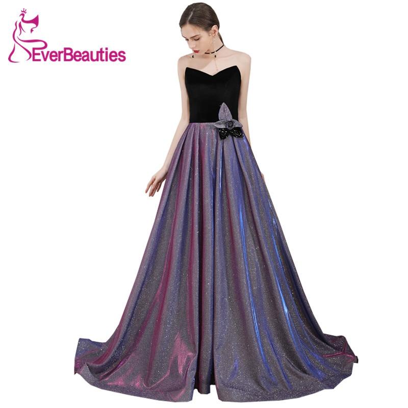 Vestido De Festa Sweetheart Sequins Evening Dress Long 2020 Abendkleider Elegant Evening Gowns Robe De Soiree Formal Dress недорого