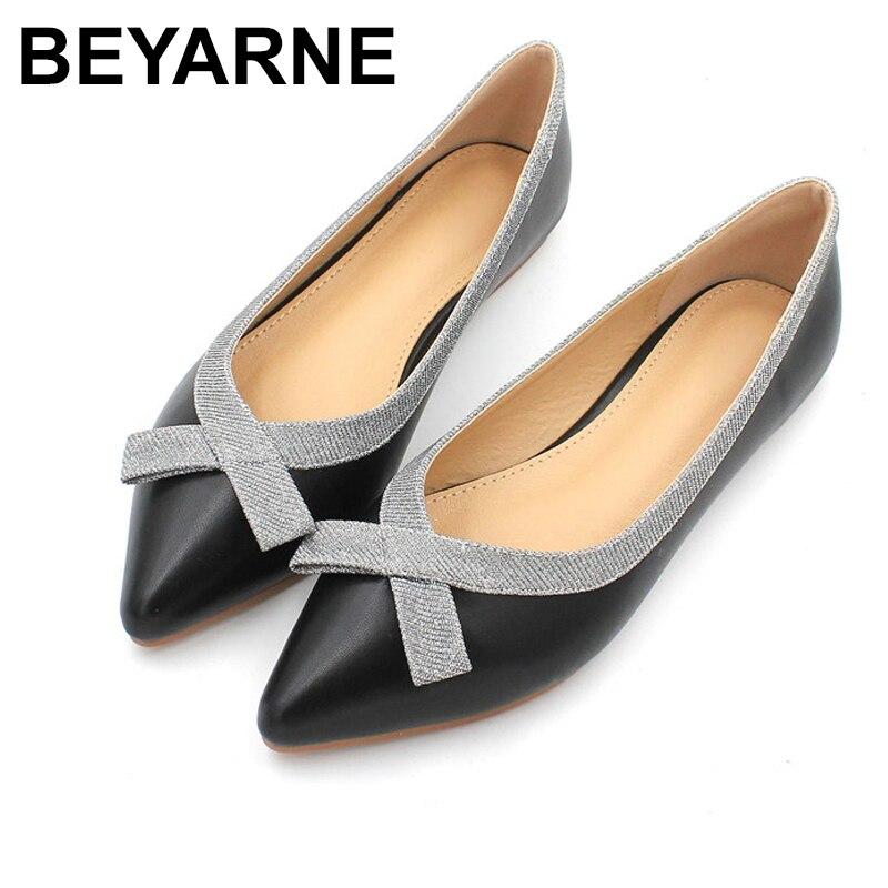 Beyarnenew mulher apartamentos sapatos femininos ol senhoras de escritório sapato borboleta nó sólido sapatos lisos elegantes casuais femininos shoese738