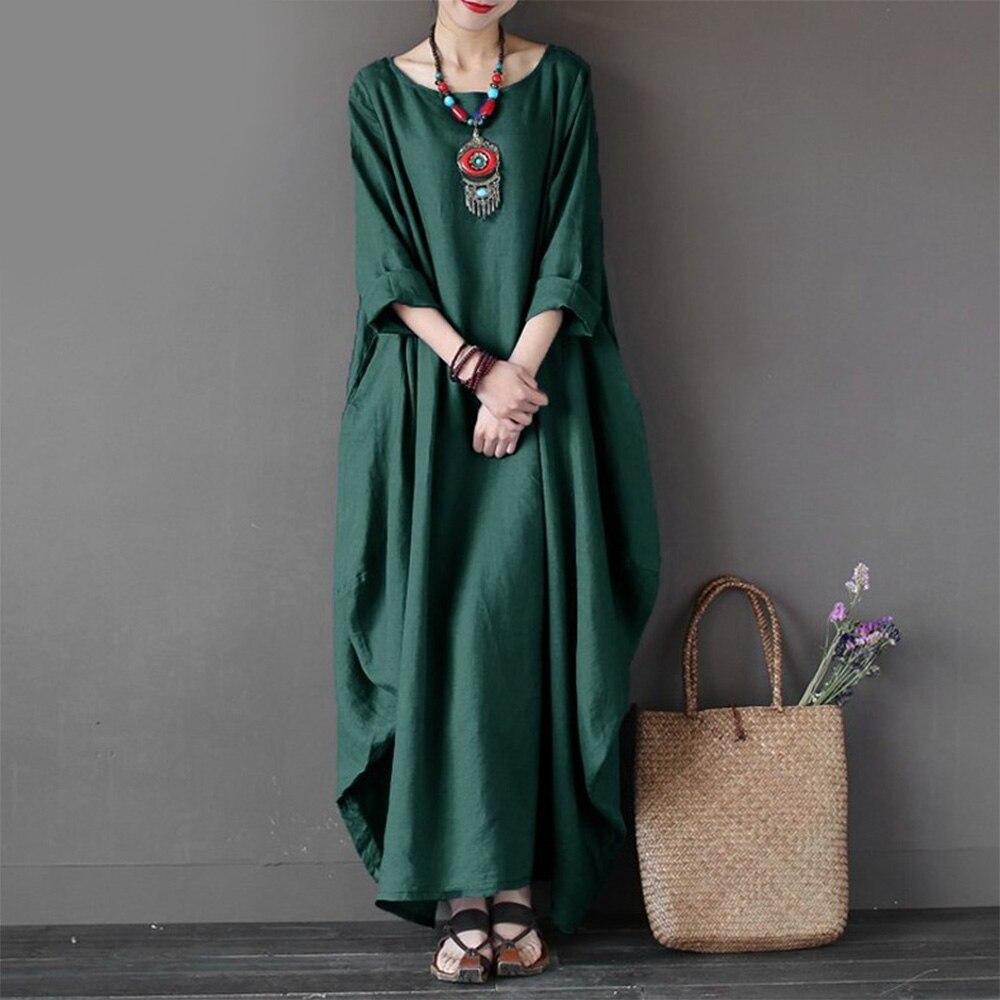 4xl 5xl vestidos tamanhos grandes solto hem algodão linho três quartos manga comprida vestido de verão verde feminino maxi vestidos robe