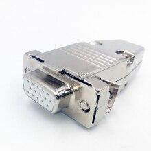 DB15 VGA 3 rangée connecteur métallique D Sub plug   Connecteur en laiton plaqué or 15 broches, prise de port, adaptateur femelle mâle