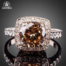 AZORA Königlichen DesignRose Gold Farbe mit Strass Umgeben Platz Orange Kristall Ring TR0095
