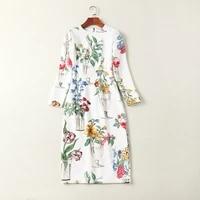 high quality womens dress 2019 designer elegant temperament flower print round neck long sleeve high waist ladies dress spring