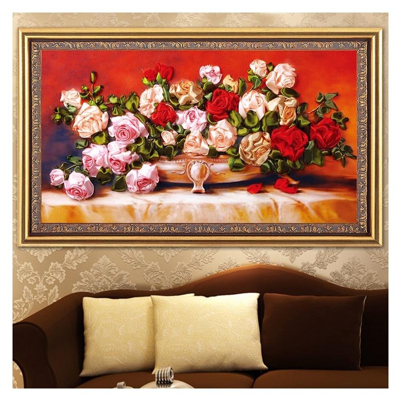 Flor rosa vaso de seda fita bordado 3d pintura em tela cetim ponto cruz kit needlework artesanato presente diy casa parede deco