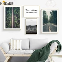 nhdarc canvas print painting poster road forest text quote wall pictures art for living room moden scandinavian home decor