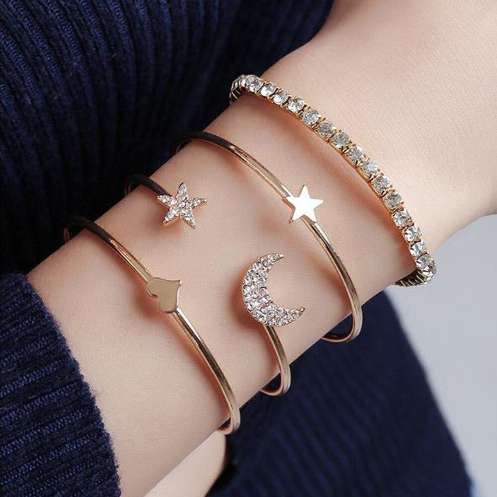 4 unids/set pulsera de estrella de la luna de moda pulsera de amor joyería