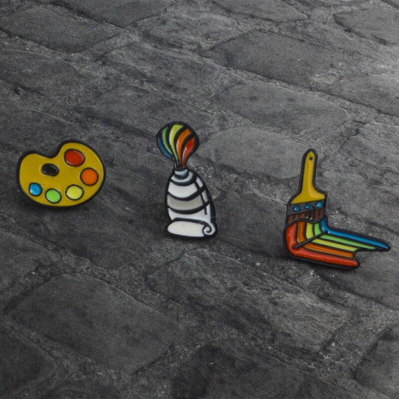 Broche y Pin pintura pigmento paleta brocha broche para Mujeres Hombres niños pintura herramientas esmalte solapa Pin joyería regalo