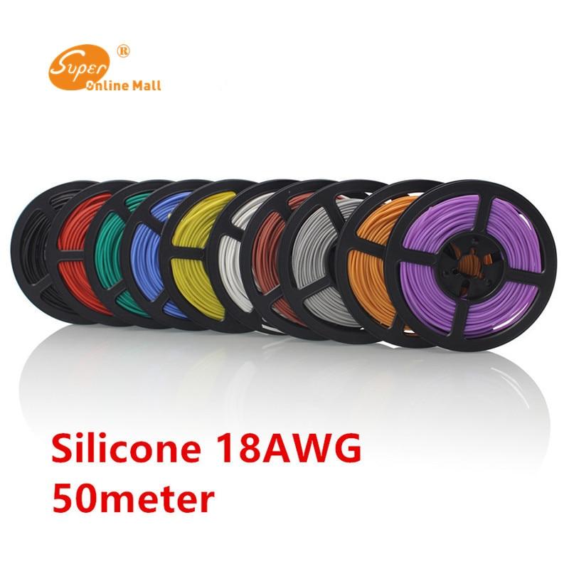 50 m/lote 164ft 18 AWG Flexible de silicona de alambre cable RC 150/0 08TS diámetro exterior de 2,8mm de alambre Conductor DIY Cables