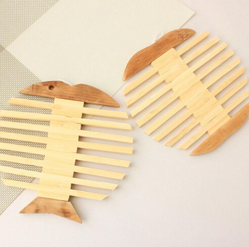 2 esteras de madera unids/set almohadillas de escritorio de bambú estera de aislamiento caliente pescado estilo hueso utensilios de cocina vajilla