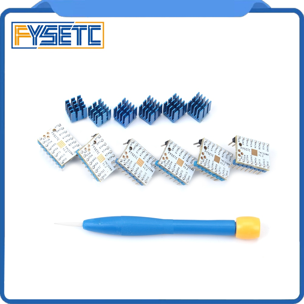 6 uds TMC2208 v1.2 paso Motor silenciador conductor tubo de potencia de Stepstick incorporado controlador de corriente 1.4A pico 2A reemplazar TMC2100