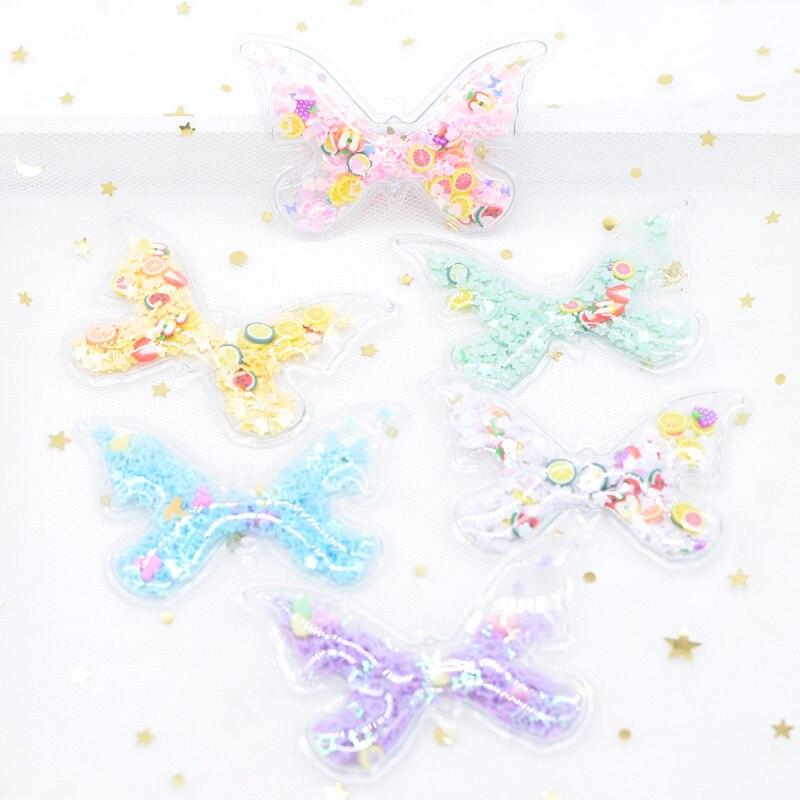 12 pçs plástico transparente enchimento lantejoulas apliques borboleta remendos para diy artesanato bolo topper decoração headwear grampos de cabelo h45