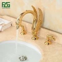 flg wholesale and retail deck mounted bathroom faucet swan spout sink mixer tap golden brass 3 holes robinet basin faucets