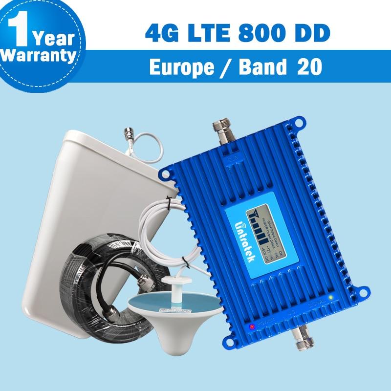 Lintratek nova banda 20 4g lte (800 dd) europa amplificador 70db do impulsionador do sinal do telefone móvel com antena lte 800mhz 4g repetidor s26